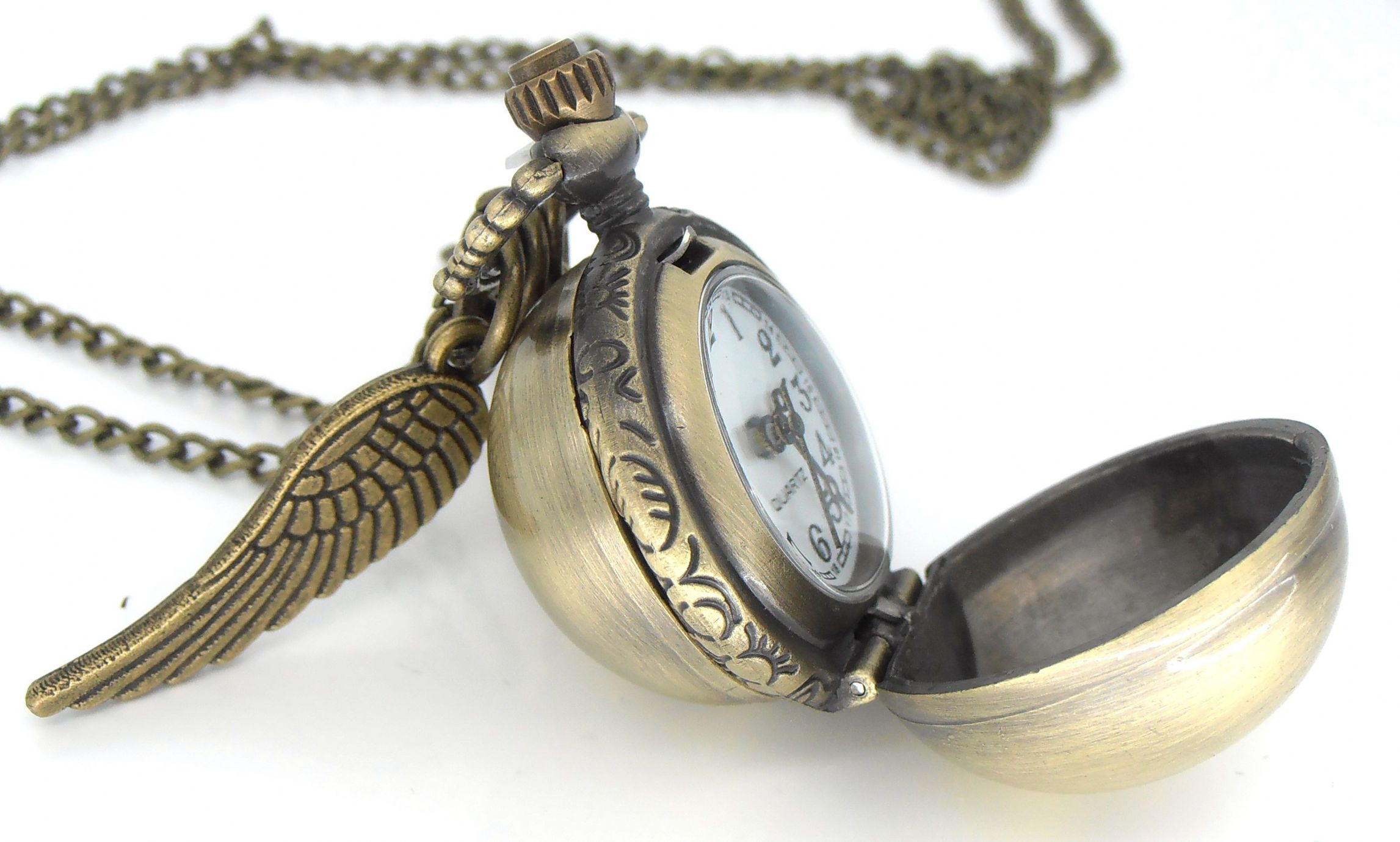 Potter golden snitch watch necklace with double side wings harry potter golden snitch watch necklace with double side wings mozeypictures Images